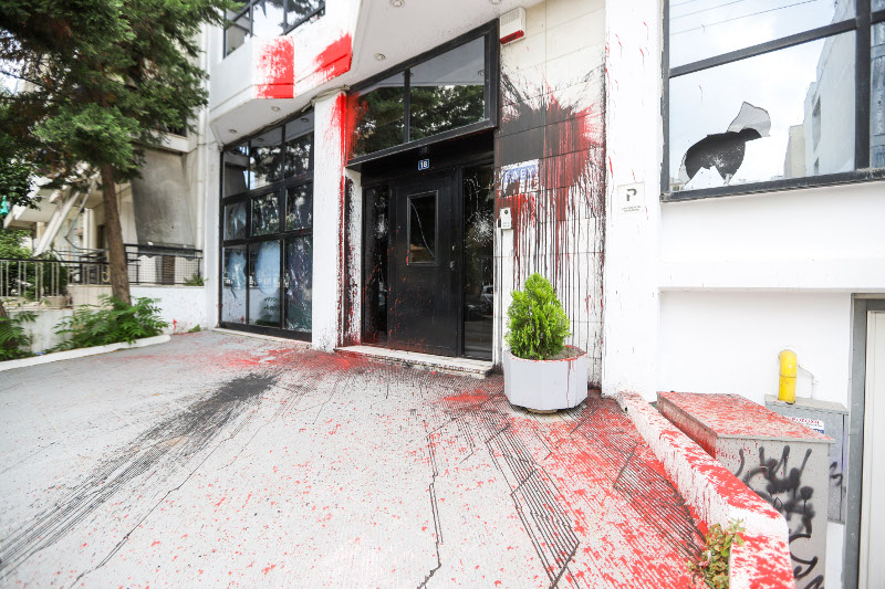 Επίθεση του Ρουβίκωνα στα γραφεία της ΕΔΕΥ / Φωτογραφία: EUROKINISSI