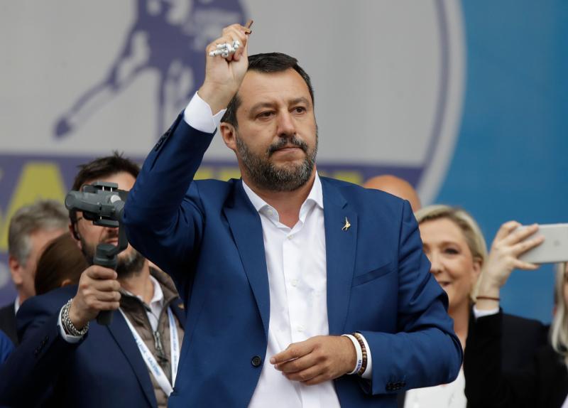 Ο Ματέο Σαλβίνι, σε προεκλογική εκδήλωση του κόμματός του