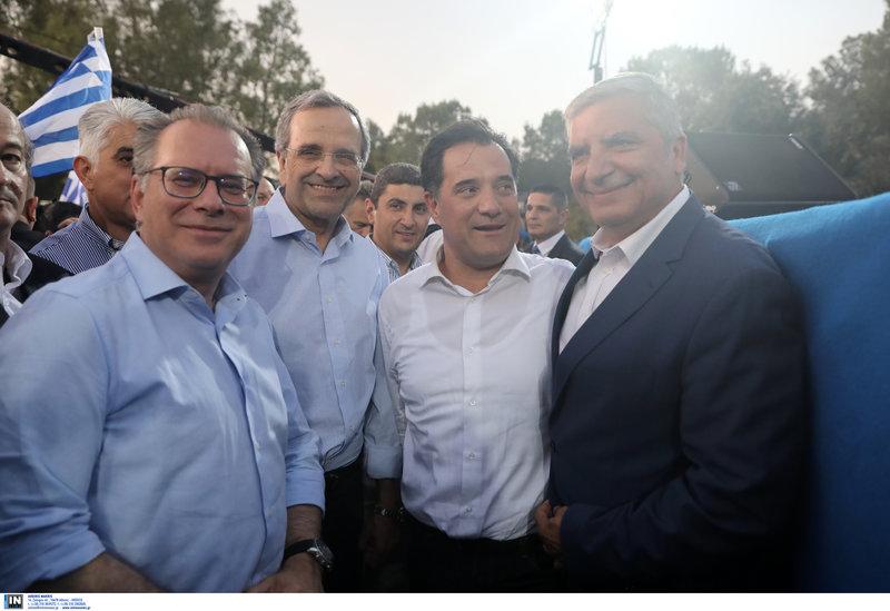 Από αριστερά: Γ. Κουμουτσάκος, Αντώνης Σαμαράς, Αδωνις Γεωργιάδης, Γιώργος Πατούλης