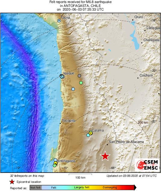 σεισμός Χιλή χάρτης