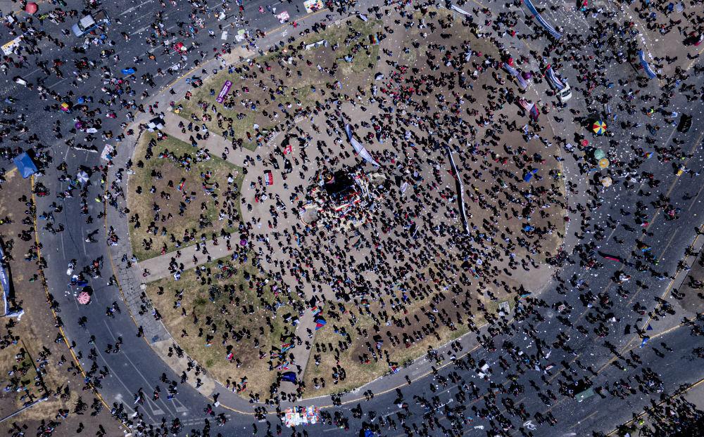 Αεροφωτογραφία από τη συγκέντρωση της Κυριακής στη Χιλή