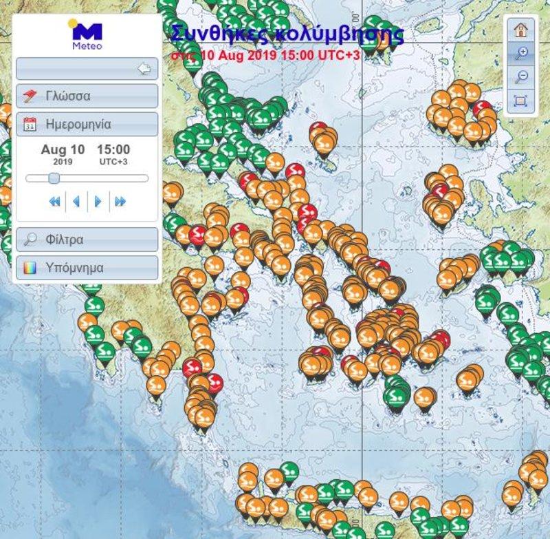 Ο χάρτης για τις συνθήκες κολύμβησης