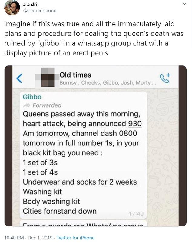 Η ανάρτηση στο twitter με την συζήτηση μιας ομάδας φίλων για τον θάνατο της βασίλισσας Ελισάβετ