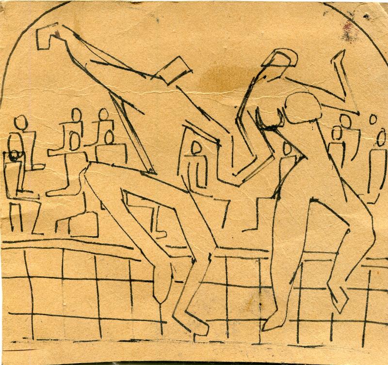 Πάρτι Σουίνγκ στην Ιπτάμενη Παράγκα το 1953. Στη ντραμς ο Πιτ Κουτρουμπούσης. Στο πιάνο ο Κυριάκος Χατηγεωργίου. ΑΡΧΕΙΟ Μ.Νταλούκα.