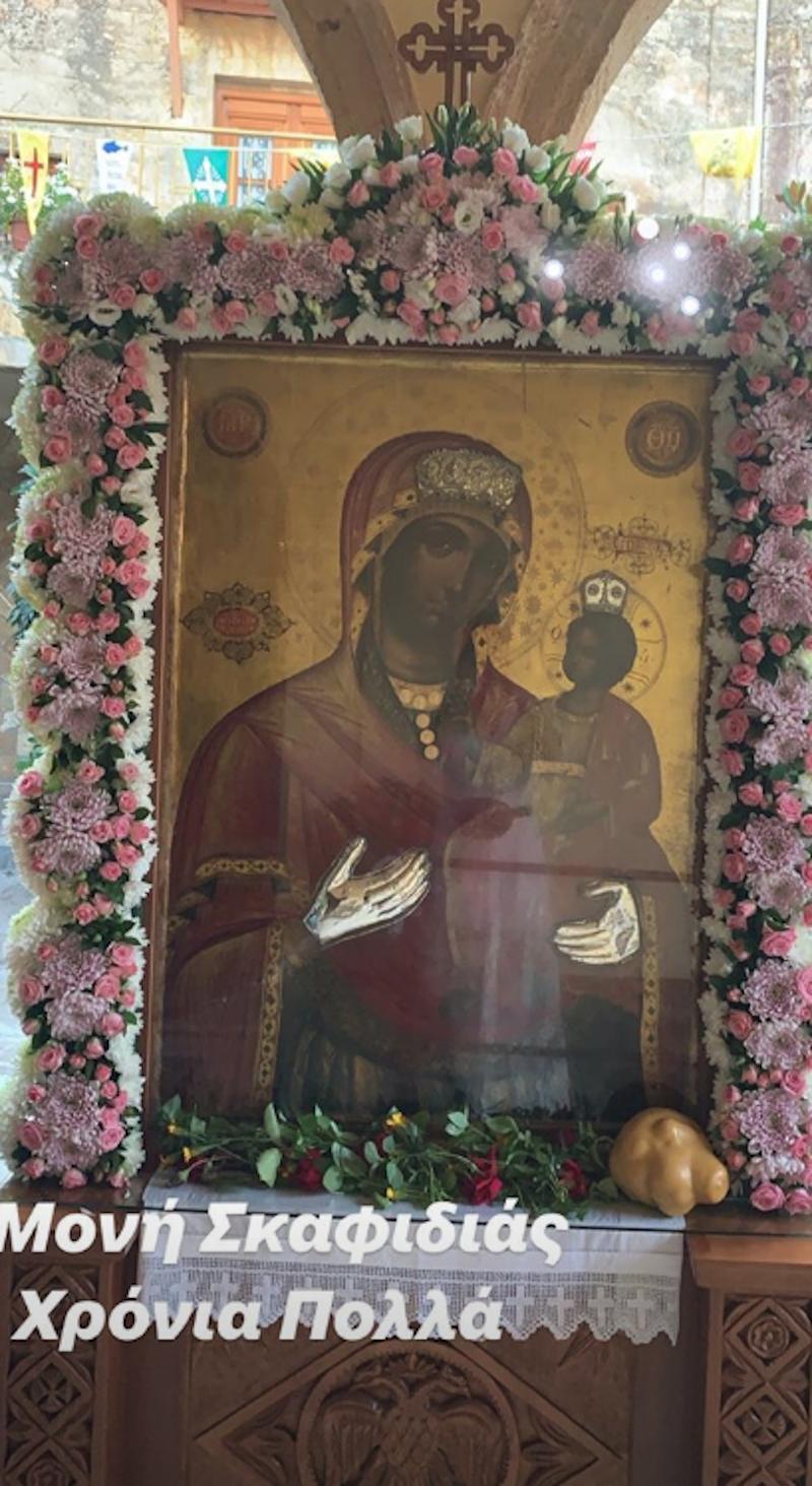Η φωτογραφία που ανέβασε η Φαίη Σκορδά με την εικόνα της Παναγίας / Φωτογραφία: Instagram