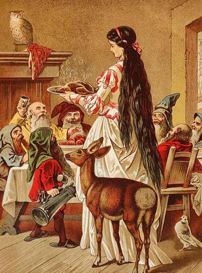 Η Χιονάτη και οι Νάνοι, όπως τους φιλοτέχνησε στα τέλη του 19ου αιώνα ο χρωστήρας του Carl Offtendinger.