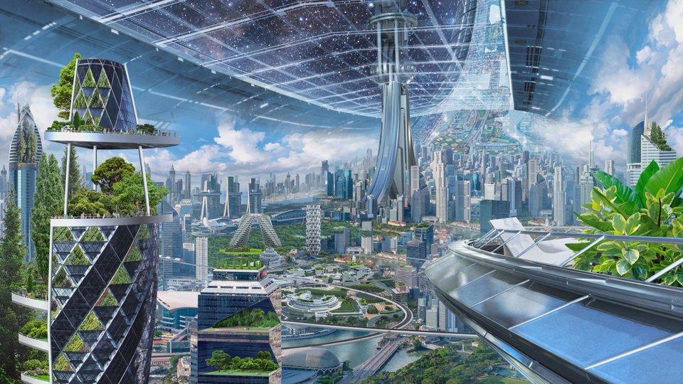 Σχέδια διαστημικών πόλεων βάσει των προτάσεων που παρουσίασε ο Τζεφ Μπέζος.