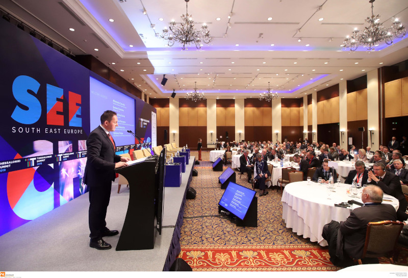 Ο Στέλιος Πέτσας κατά την ομιλία του στο Thessaloniki Summit