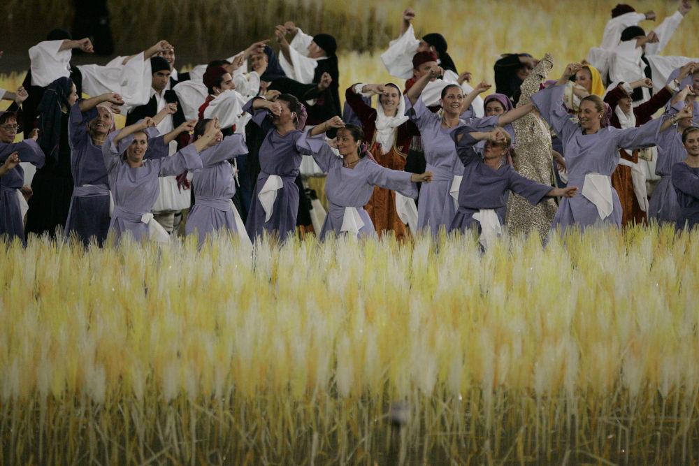 Στιγμιότυπο από την τελετή των Ολυμπιακών Αγώνων της Αθήνας