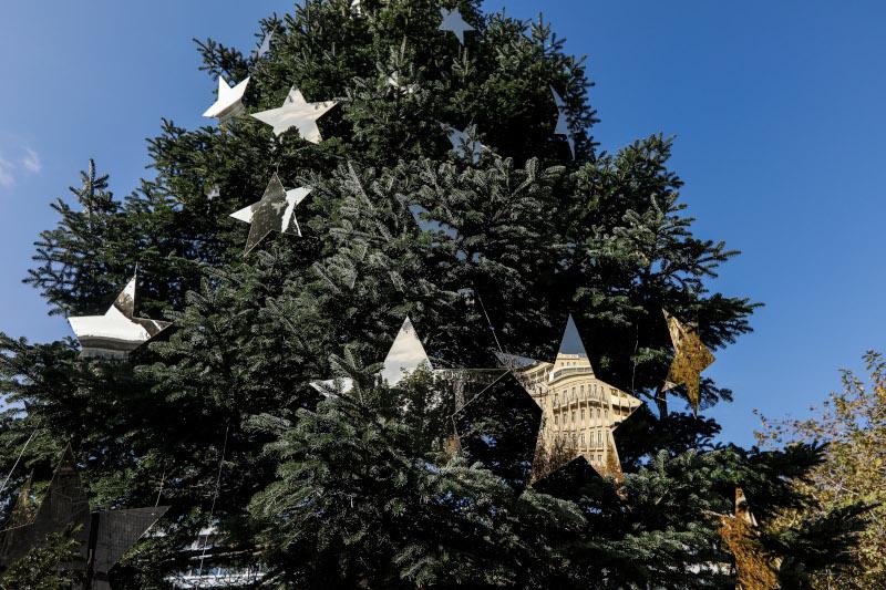 Τα στολίδια σε σχήμα αστεριού στο χριστουγεννιάτικο δέντρο της πλατείας Συντάγματος