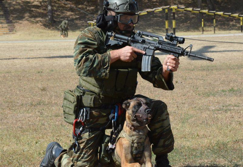 Στρατιώτης και σκύλος σε απόλυτη ετοιμότητα