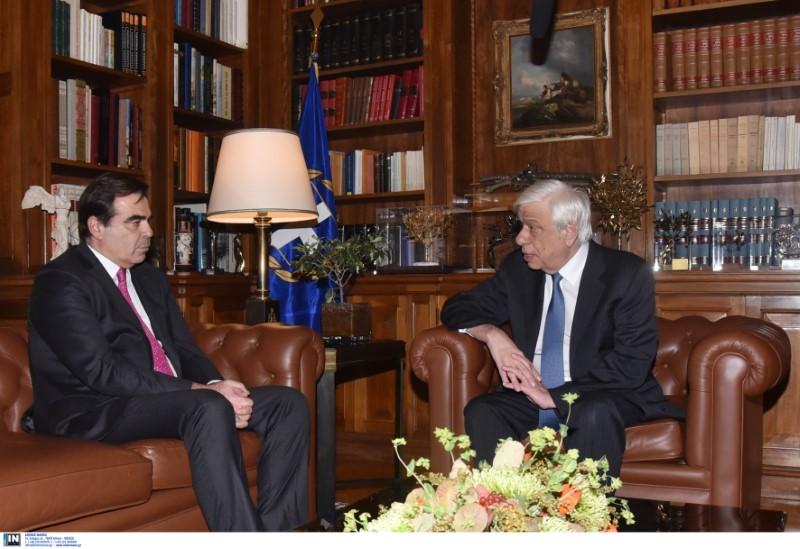 Συνάντηση του Προκόπη Παυλόπουλου με τον αντιπρόεδρο της Ευρωπαϊκής Επιτροπής, Μαργαρίτη Σχοινά