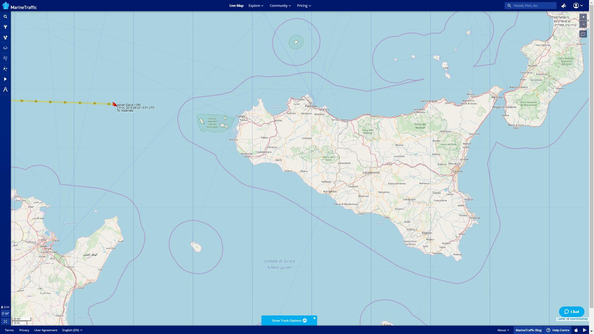 Adrian Darya 1 άλλαξες πορεία τις τελευταίες ώρες και κατευθύνεται νοτιοανατολικά της Σικελίας