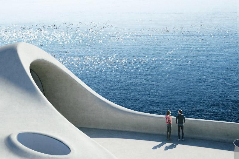 Στην οροφή, βεράντα με θέα στη Θάλασσα της Νότιας Κίνας