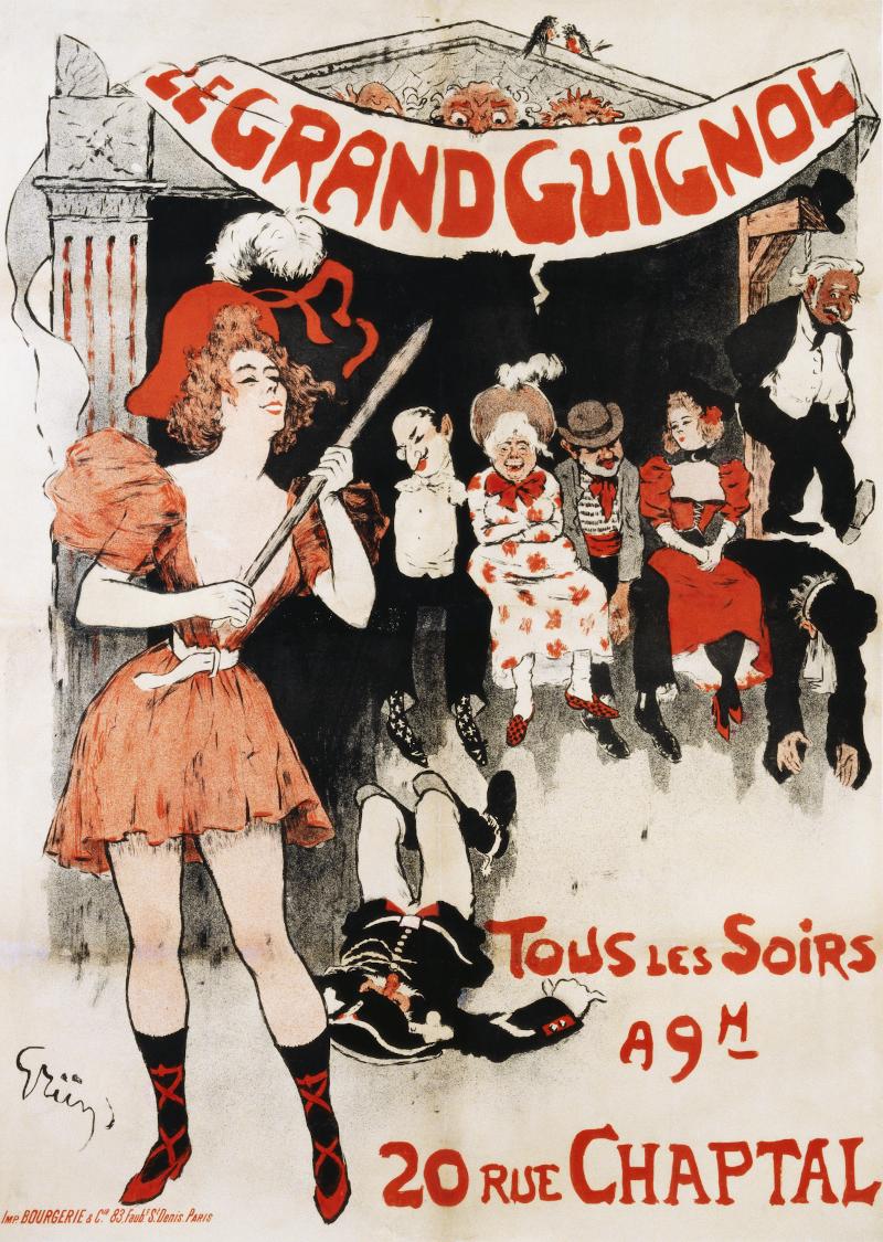 Μια από τις αφίσες του θεάτρου Γκραν Γκινιόλ, από τον Ζυλ-Αλεξάντρ Γκριν