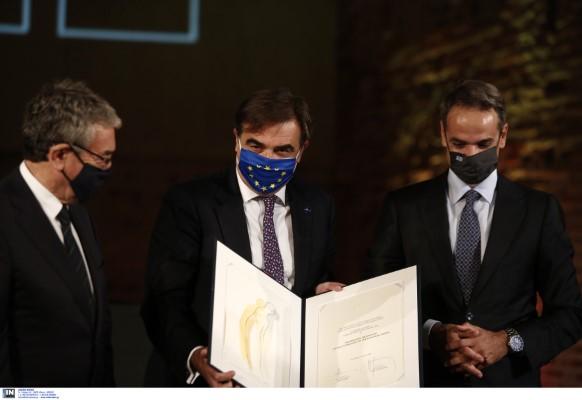 Το βραβείο παρέλαβε εκ μέρους ΕΕ ο αντιπρόεδρος της Ευρωπαϊκής Επιτροπής, Μαργαρίτης Σχοινάς.