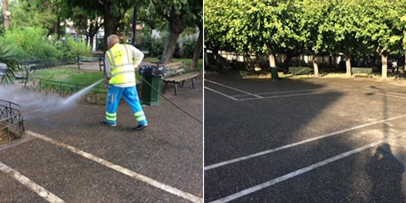 Το πριν και το μετά του καθαρισμού στην πλατείας στον Κολωνό