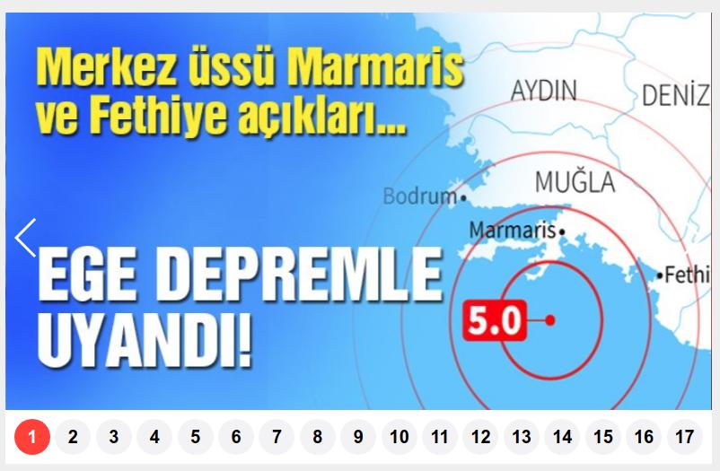 Η ανάρτηση της τουρκικής Sοzcu για τον σεισμό στη Ρόδο
