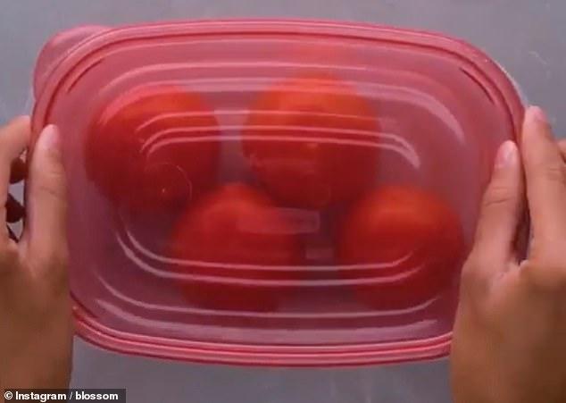 Τάπερ που περιέχει ντομάτες