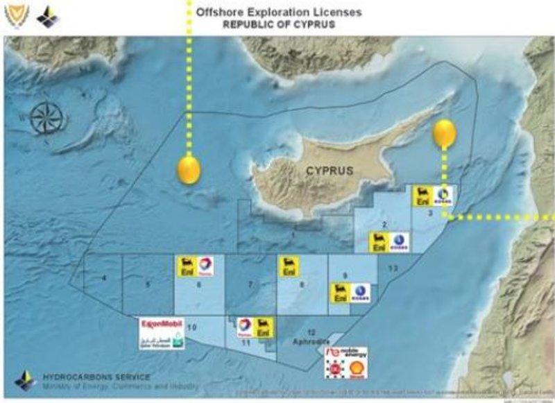 Οι θέσεις των γεωτρύπανων της Τουρκίας πέριξ της Κύπρου