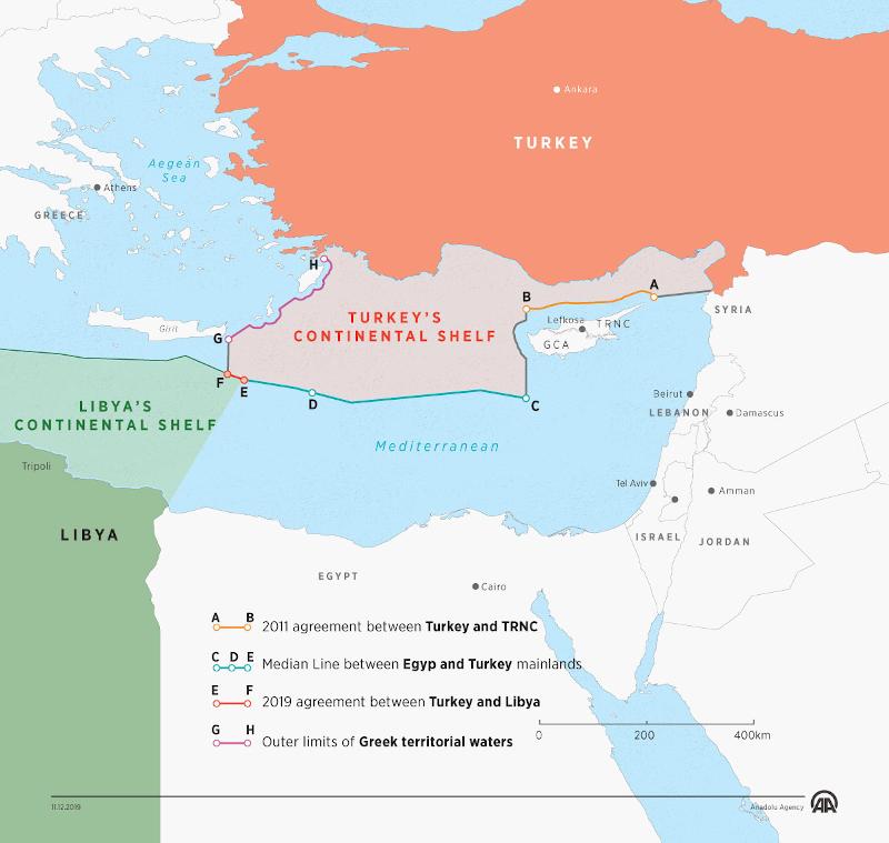 χάρτης Τουρκία - Λιβύη