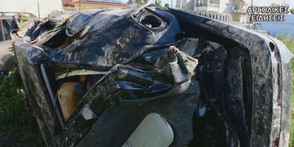 Τρακαρισμένο αυτοκίνητο στο Ναύπλιο