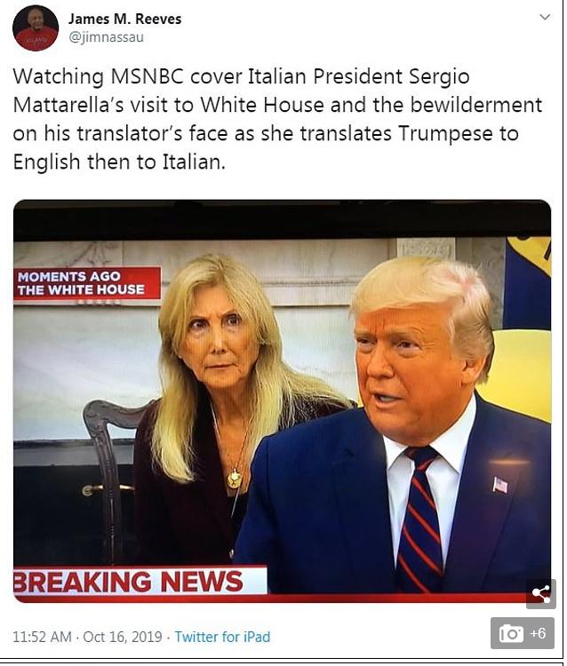 Η εικόνα μιλά από μόνη της, αναφορικά με τον τρόπο που αντιδρά η μεταφράστρια σε όσα λέει ο Ντόναλντ Τραμπ