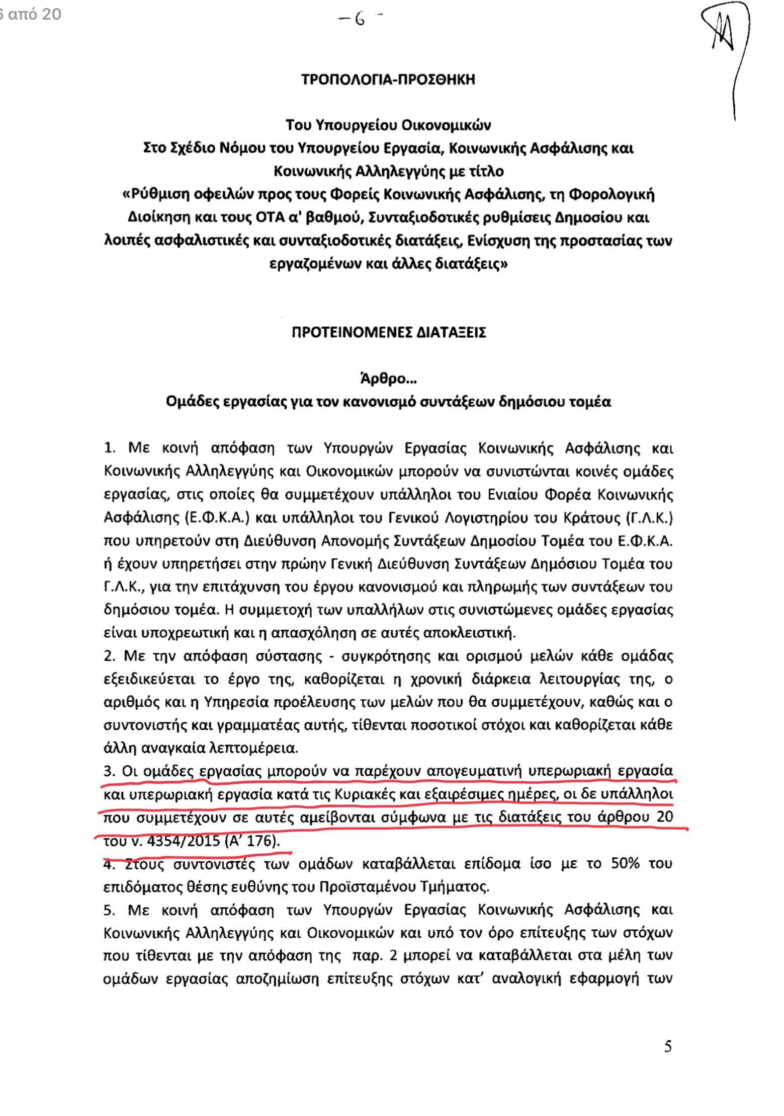 Η τροπολογία για την επταήμερη εργασία στους υπαλλήλους του υπ. Εργασίας