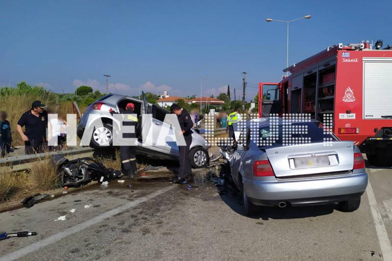 Σφοδρή σύγκρουση δύο αυτοκινήτων στον Πύργο / Φωτογραφία: ilialive.gr