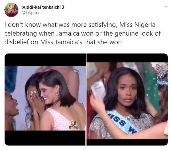 Αντίδραση Μις Τζαμάικα νίκη Μις Κόσμος