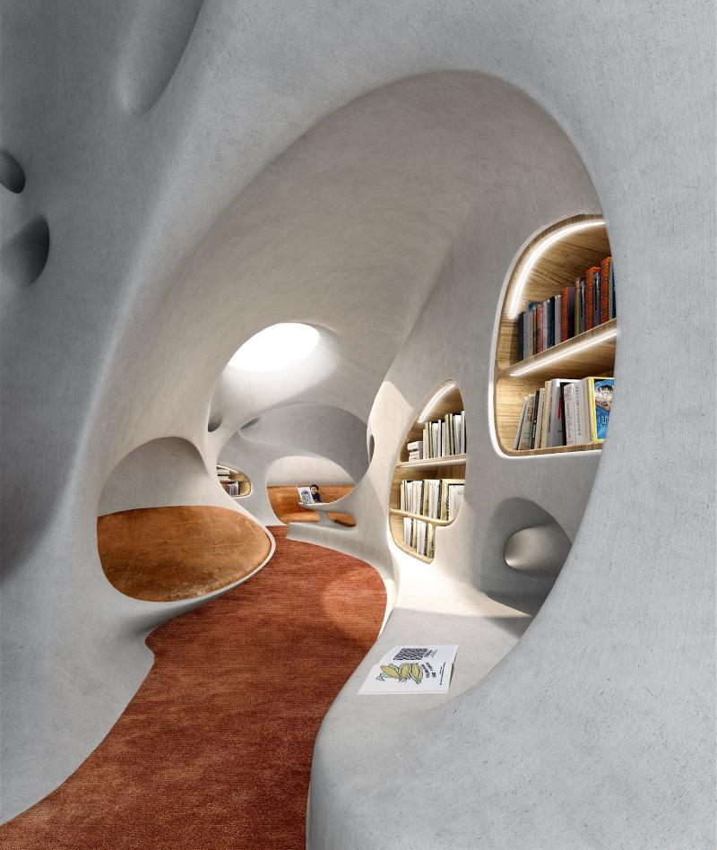 Το εσωτερικό της «Βιβλιοθήκης-Σκουληκότρυπας» στην Κίνα