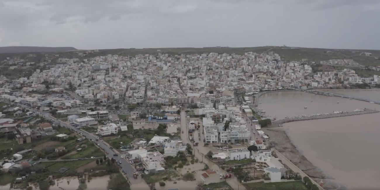 Πλημμύρες στην Σητεία από την κακοκαιρία, εικόνες από drone