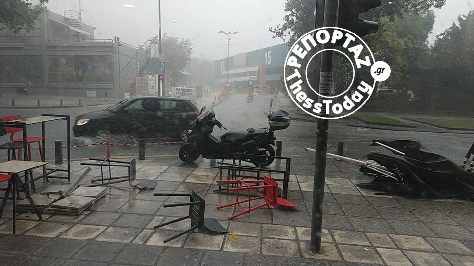 Χάος από τη βροχή στη Θεσσαλονίκη