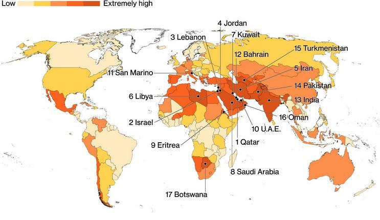 Ο χάρτης με τις χώρες που αντιμετωπίζουν το μεγαλύτερο πρόβλημα με την έλλειψη νερού.