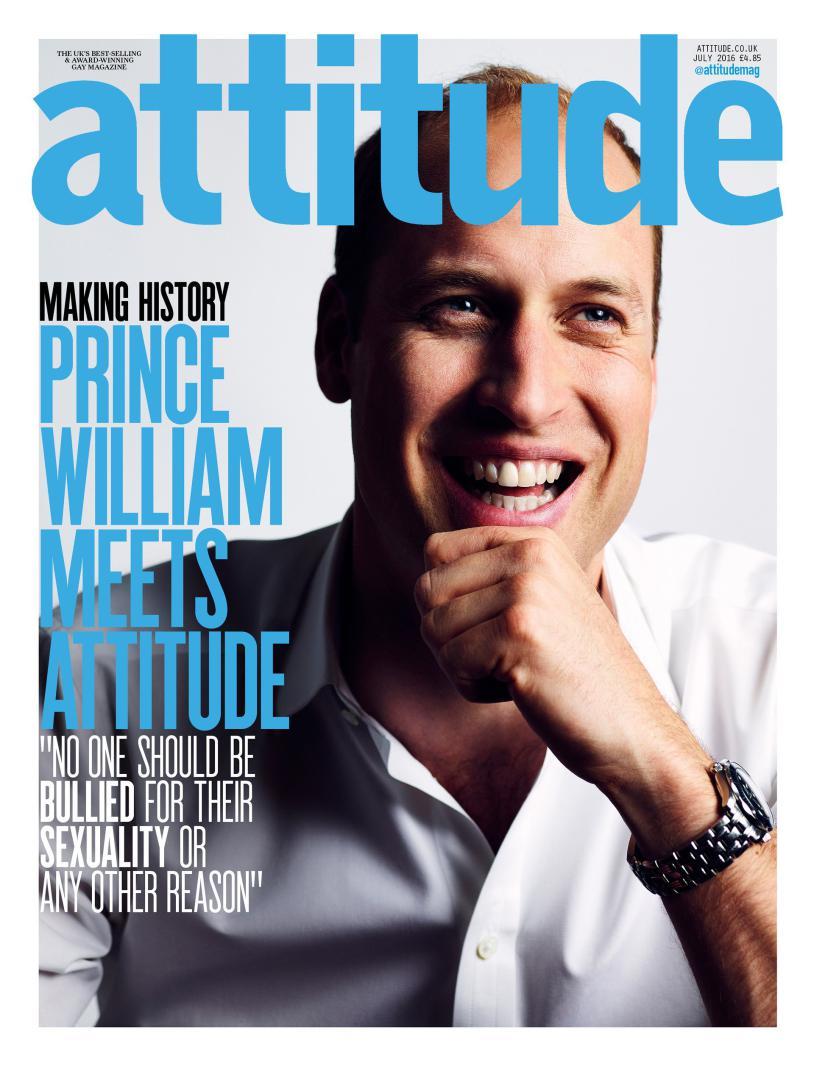 Ο πρίγκιπας Γουίλιαμ στο εξώφυλλο του γκέι περιοδικού «Attitude»