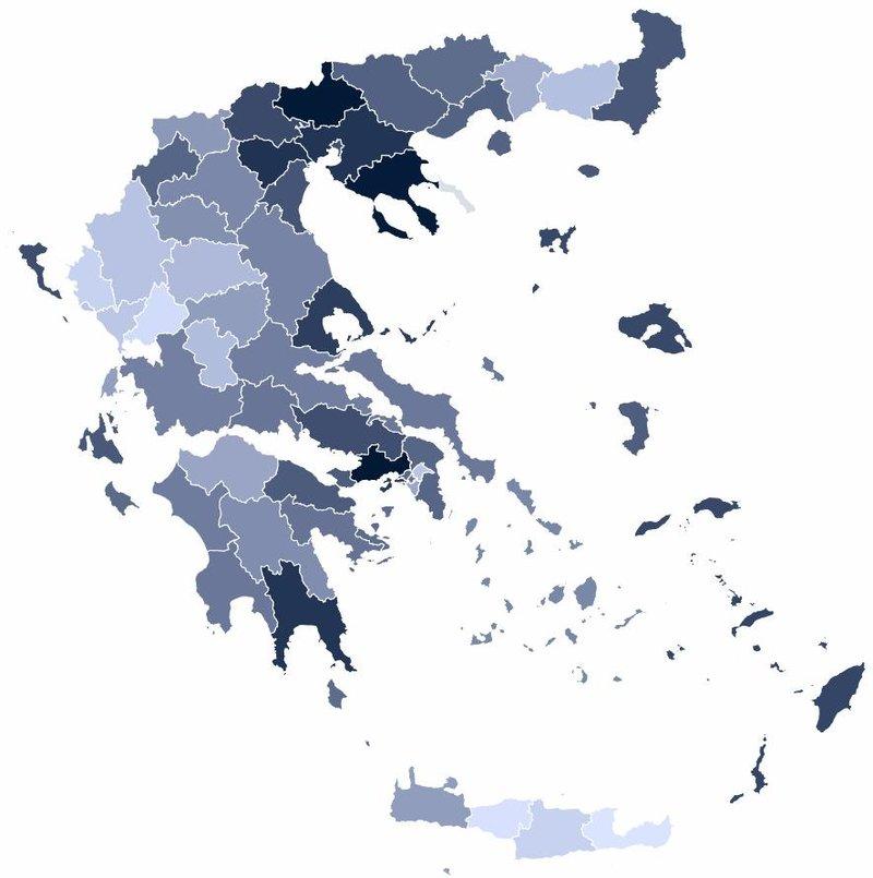 Πανελλαδικός χρωματικός χάρτης για τα ποσοστά της Χρυσής Αυγής
