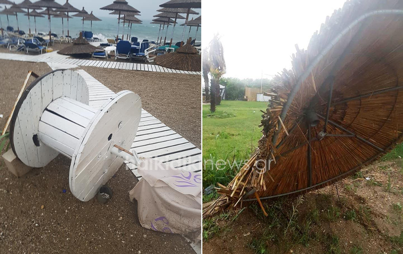 Οι ομπρέλες δεν άντεξαν να μείνουν όρθιες από την κακοκαιρία