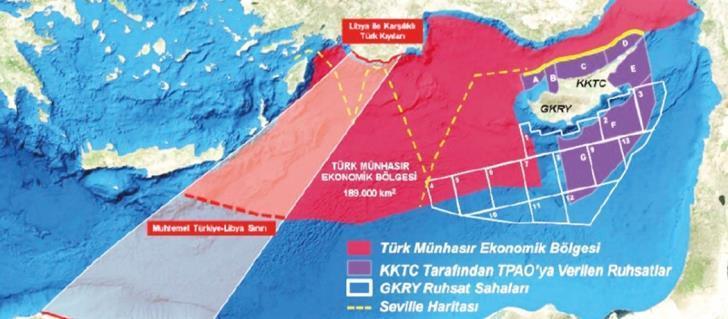 Ο χάρτης που ανάρτησε ο αναπληρωτής Γενικός Διευθυντής του Ναυτιλίας και Αεροπορίας του τουρκικού ΥΠΕΞ