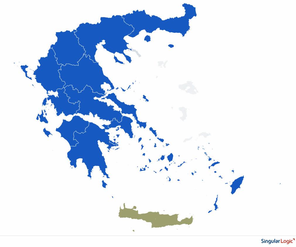 Ο χάρτης με της Περιφέρειες βάφτηκε μπλε
