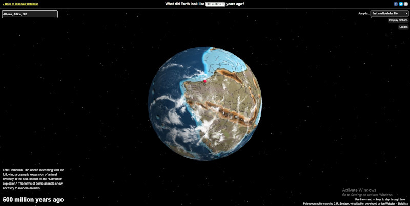 Η κόκκινη κουκκίδα δείχνει που βρισκόταν η Αθήνα πριν από 500 εκατομμύρια χρόνια
