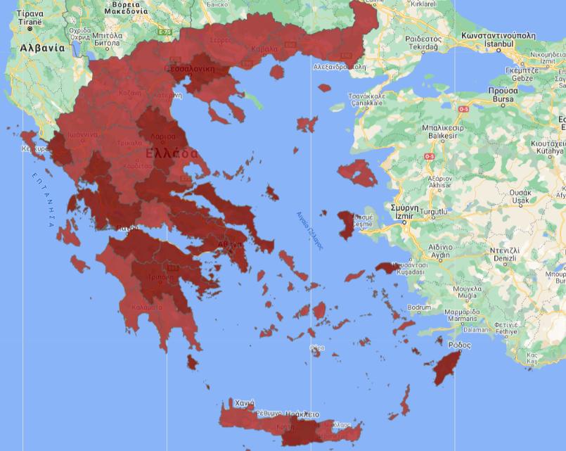 Ο νέος χάρτης επιδημιολογικής επιτήρησης μετά τα νέα μέτρα