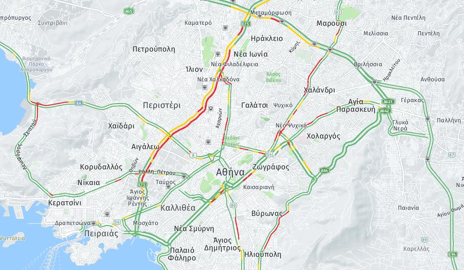 Ο Χάρτης με την κίνηση στους δρόμους λίγο μετά τις 08.00