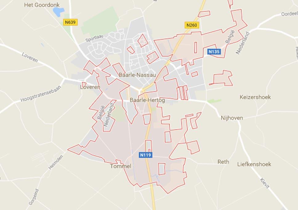 Τα σκούρα κομμάτια του χάρτη συναποτελούν τη βέλγικη πόλη που βρίσκεται περίκλειστη εντός ολλανδικού εδάφους
