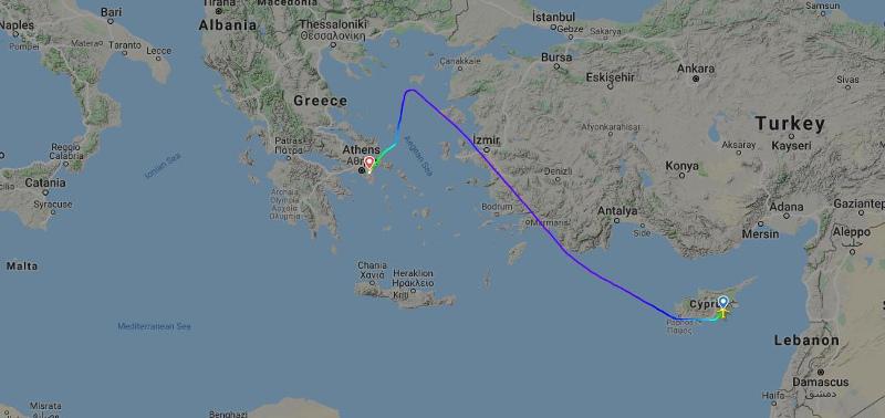 Χάρτης με πορεία του αεροσκάφους