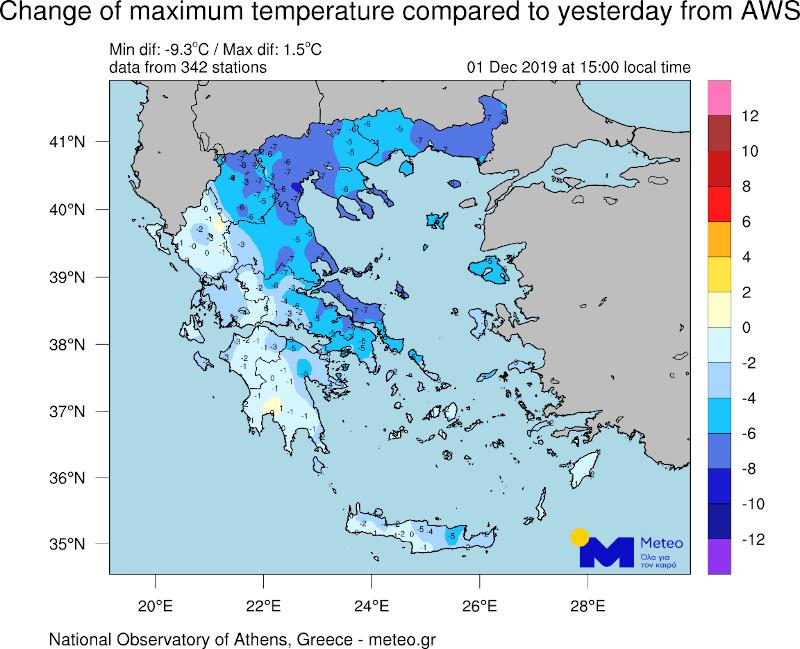 Χάρτης με πτώση της θερμοκρασίας