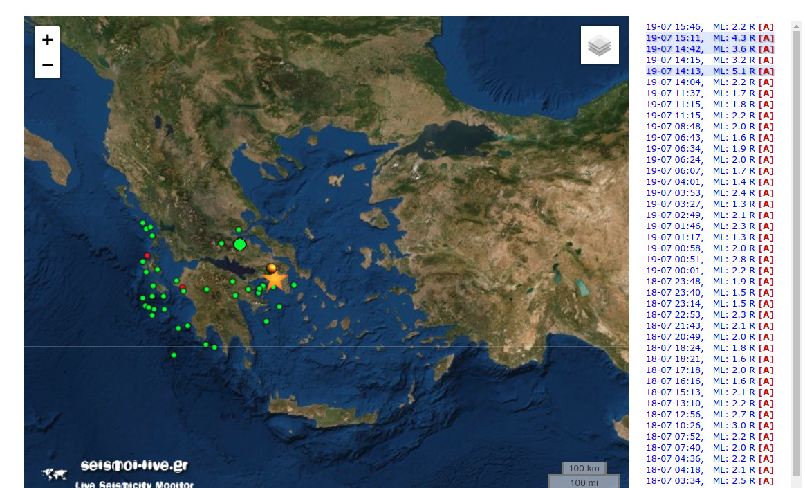 Ο χάρτης με την καταγραφή του σεισμού και των μετασεισμών