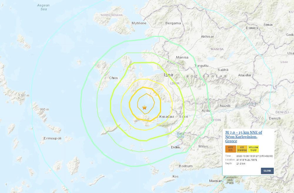 Στα 7 Ρίχτερ εκτιμά τον σεισμό στη Σάμο το γεωλογικό ινστιτούτο των ΗΠΑ