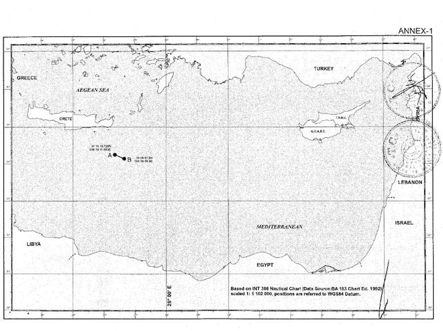 Αντίγραφου του χάρτη που δόθηκε στην τουρκική Βουλή