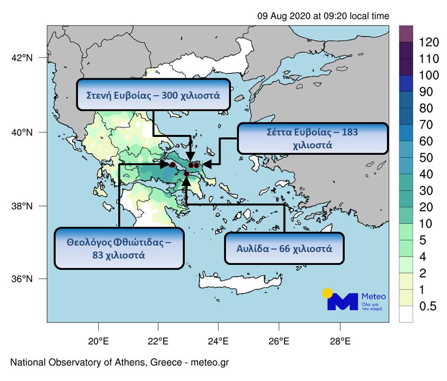 Η ποσότητα της βροχής κατά τη διάρκεια της κακοκαιρίας στην Εύβοια