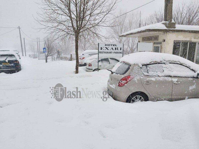 Σφοδρή χιονόπτωση στον Ομαλό